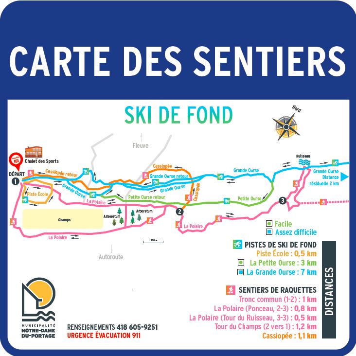 Carte sentiers ski de fond 2019